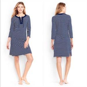 Lands End Navy Blue Stripe Dress Coverup 10/12